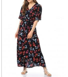 Koton Bayan Elbise  V Yaka, Kısa Kolu, Beli Bağlamalı Elbise 6YAK88394PW20E