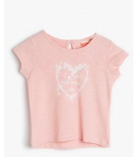 Koton Kız Çocuk Pembe Desenli Tişört 6YMG19574OKBT4