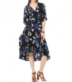 Koton Bayan Çiçek Desenli Elbise V Yaka, Kısa Kollu 6YAK88391PW09U