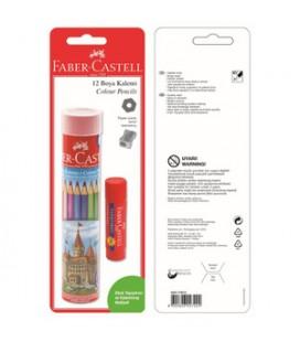 Faber Castell 12'li Tüp Kuru Boya Yapıştırıcı Kalem