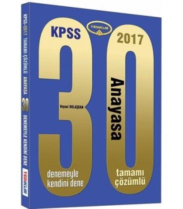 2017 KPSS Anayasa Tamamı Çözümlü 30 Deneme Yediiklim Yayınları
