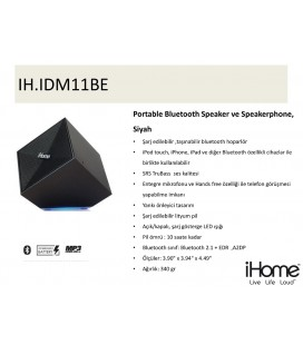 iHOME Portable Bluetooth Speaker ve Speakerphone, Siyah